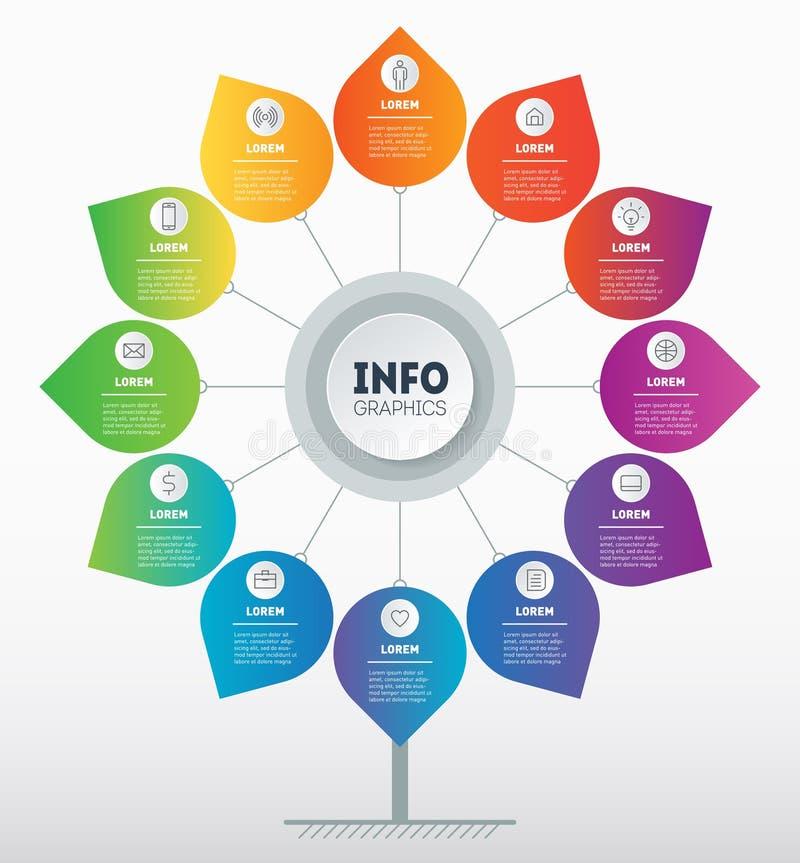 企业介绍概念与12个选择或月 树或图模板  技术或教育Infographic  库存例证