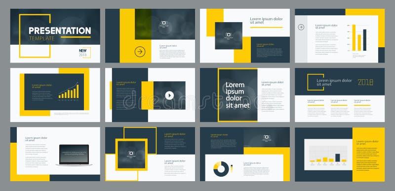 企业介绍模板设计和页面设计为小册子、年终报告和公司概况设计 向量例证