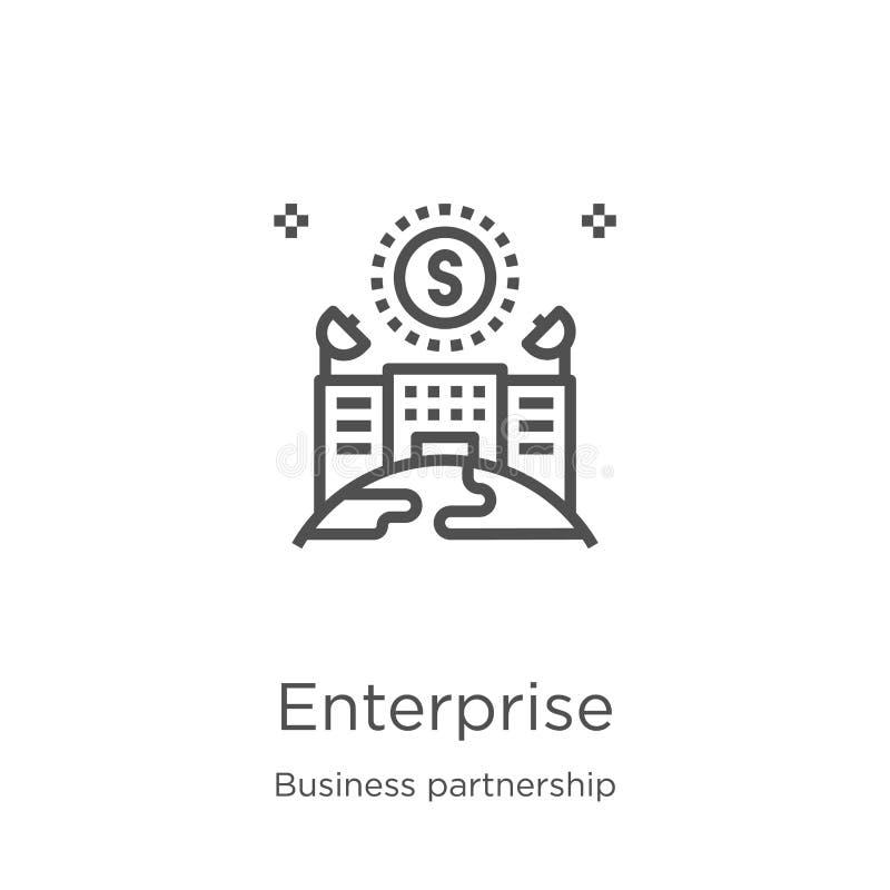 企业从企业合作汇集的象传染媒介 稀薄的线企业概述象传染媒介例证 概述,稀薄 库存例证