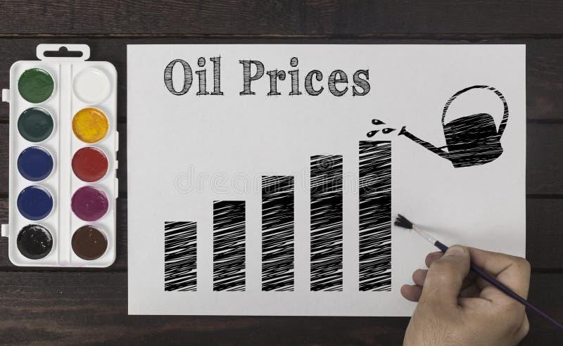 企业价格概念 有一张刷子绘画图的手与象征油价的成长喷壶 免版税库存照片