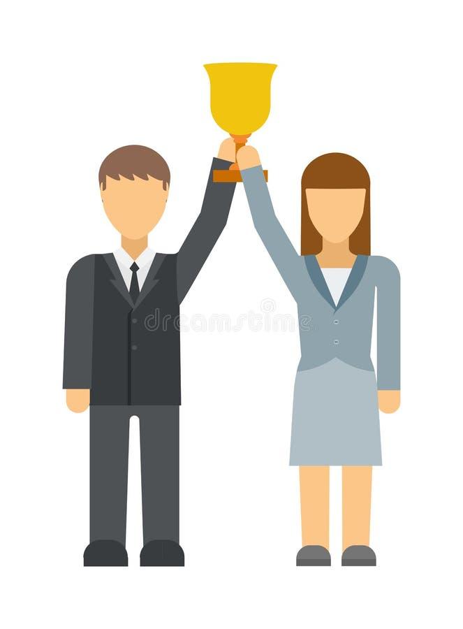 企业优胜者人小组剪影激动的举行递有金奖传染媒介的被举的胳膊 向量例证