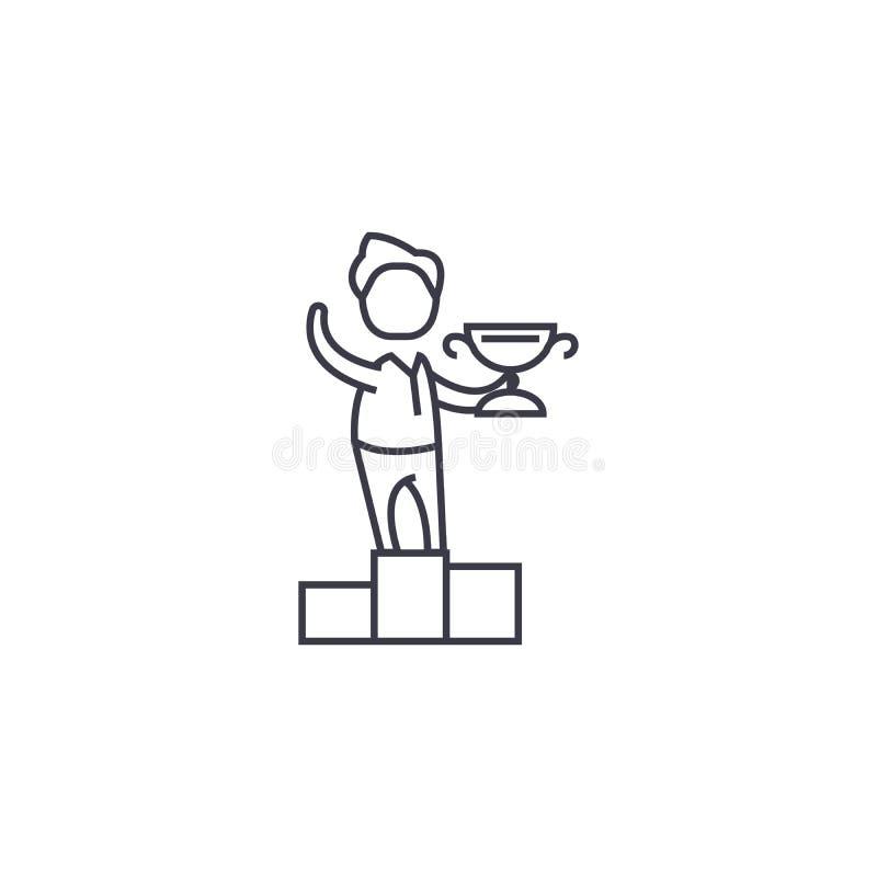 企业优胜者传染媒介线象,标志,在背景,编辑可能的冲程的例证 皇族释放例证
