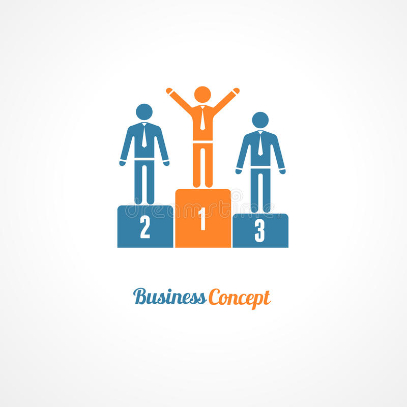 企业优胜者指挥台标志传染媒介例证 向量例证