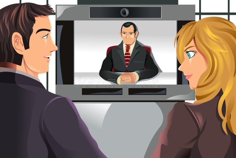 企业会议人录影 向量例证