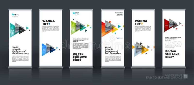 企业传染媒介套现代卷起横幅与f的立场设计 库存例证