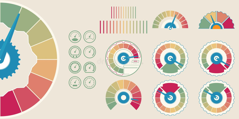企业信用评分 用户满意显示水平 信用评分规定值例证 五颜六色的信息图表股票vect 皇族释放例证