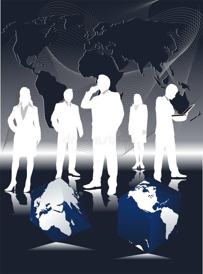 企业全球剪影小组 向量例证
