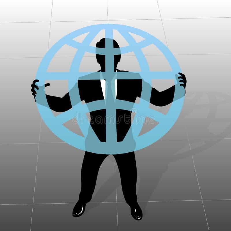 企业全球地球拿着人 库存例证