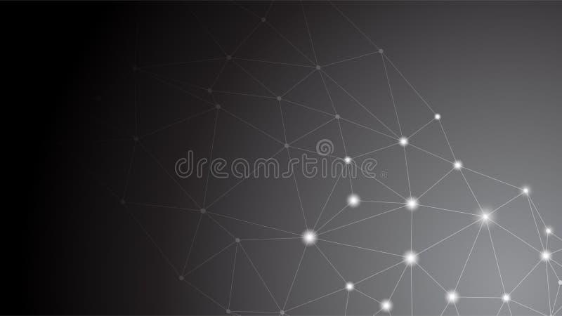企业全球性连接,抽象网络连接的小点,线,隔绝在背景,数字技术概念,网的Si 向量例证
