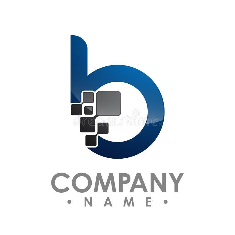 企业公司信件b商标设计传染媒介 五颜六色的信函 向量例证