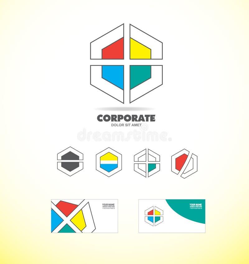 企业公司多角形徽章商标 库存例证