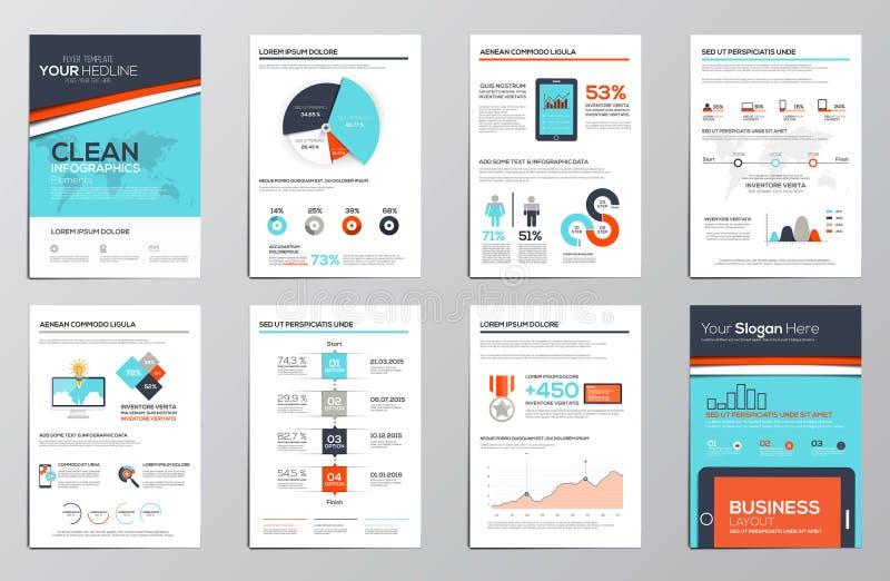企业公司小册子的infographics元素 向量例证