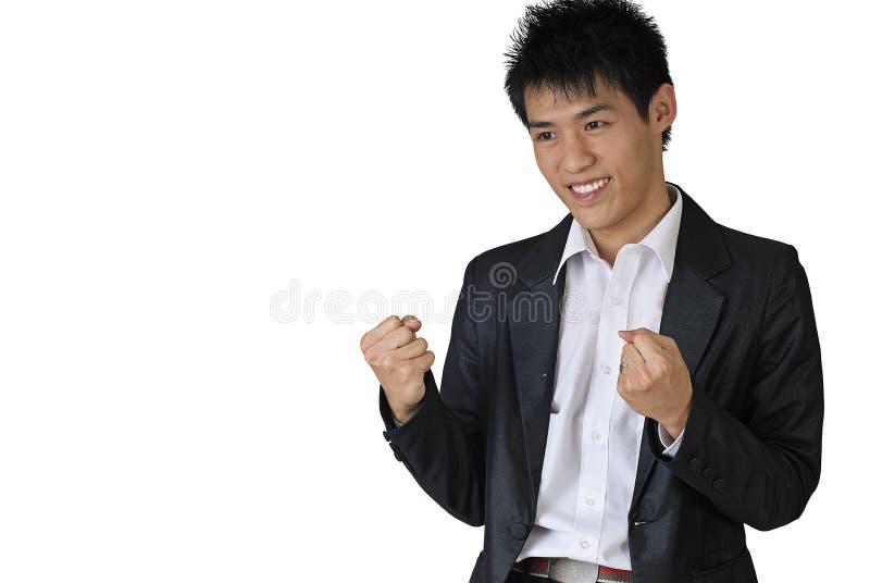 企业兴奋人年轻人 免版税图库摄影