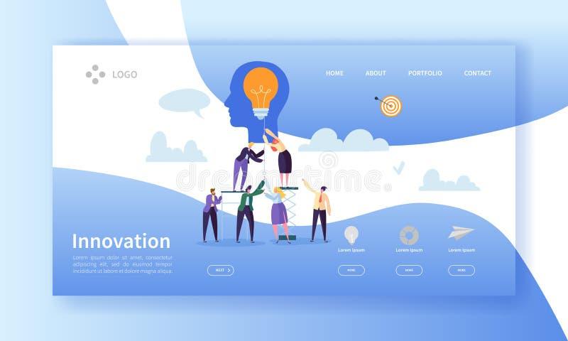企业创新着陆页模板 与平的人字符和电灯泡的创造性的想法网站布局 皇族释放例证