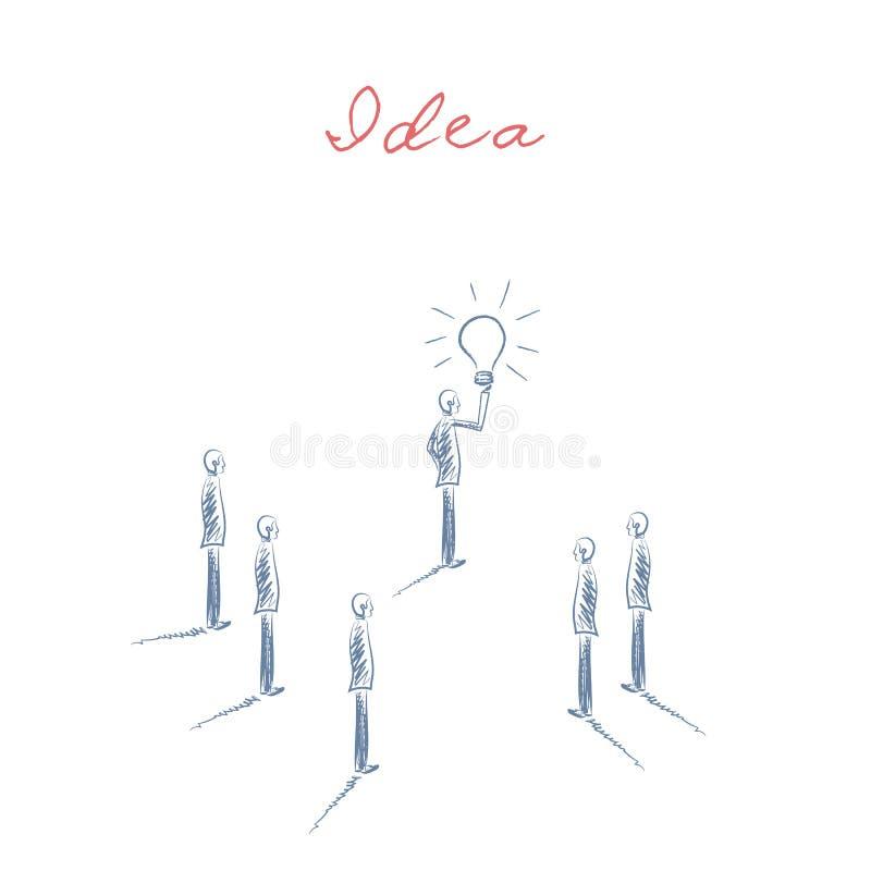 企业创造性与拿着电灯泡和队的商人的概念传染媒介 手拉的草图 向量例证
