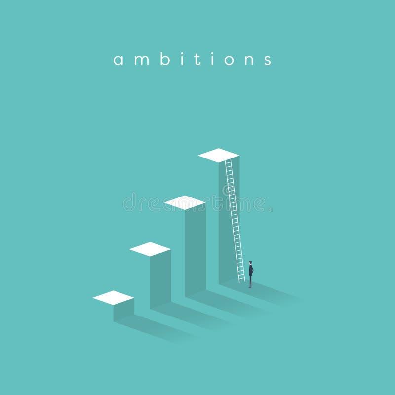 企业刺激,决心,成功,事业成长传染媒介概念 站立在公司前面的商人 皇族释放例证