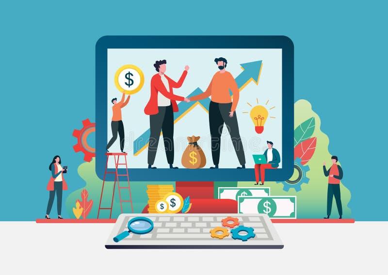 企业助理手震动  网上成交 金融投资概念 ?? 平的卡通人物图表 皇族释放例证