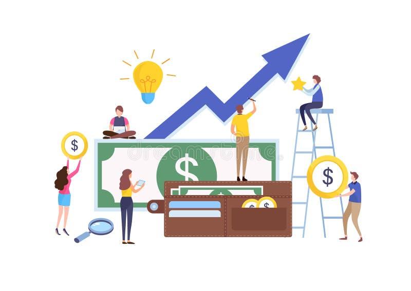 企业助理 财政,投资管理 平的动画片微型例证向量图形 向量例证