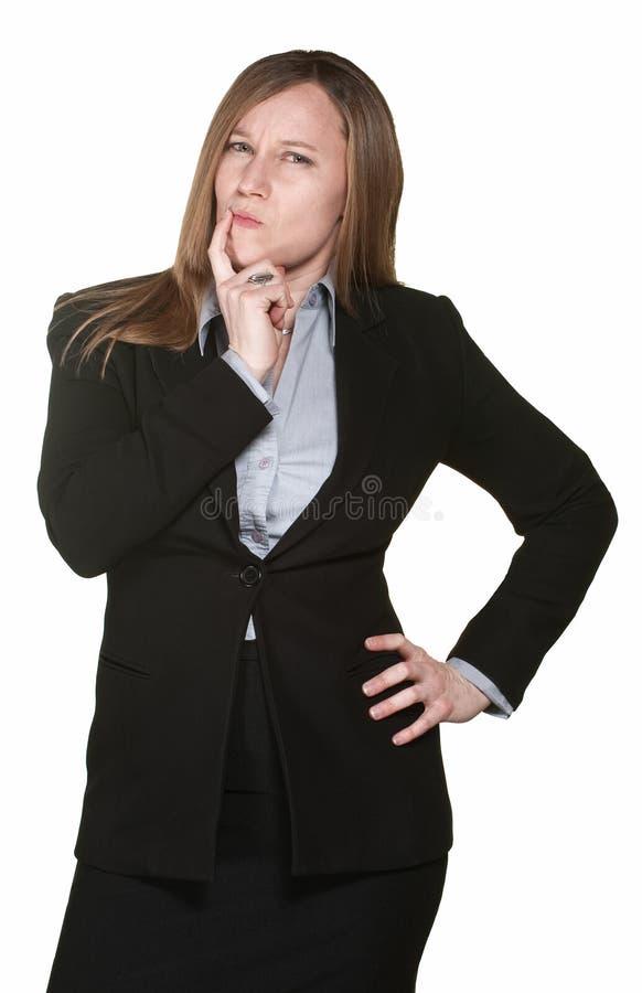 企业半信半疑的妇女 免版税图库摄影
