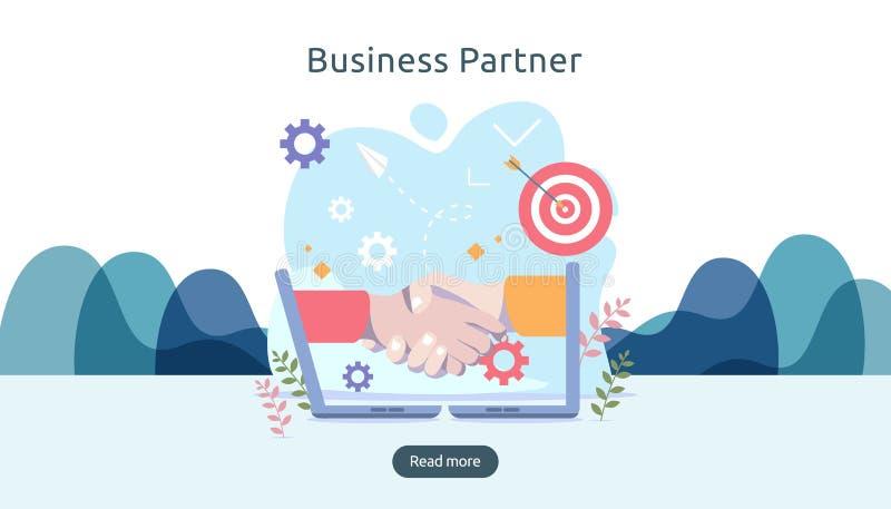 企业合作与手震动和微小的人字符的联系概念 网着陆的队模板 向量例证