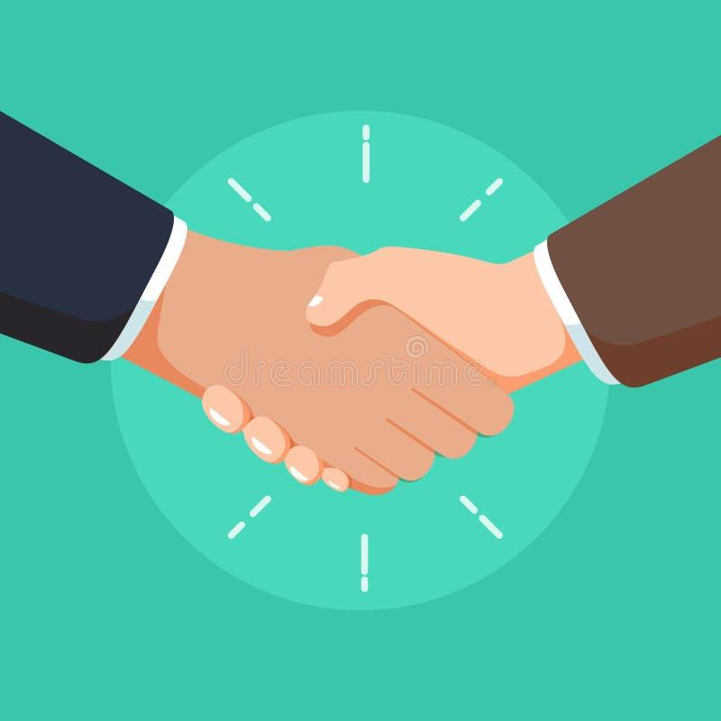 企业合作握手例证 成交标志或商人健壮协议人民 向量例证