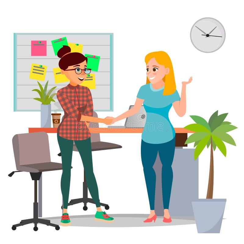 企业合作概念传染媒介 企业二妇女 签署的合同约定 办公室会议 被隔绝的舱内甲板 向量例证