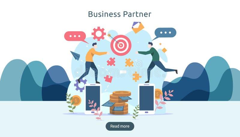 企业合作联系与微小的人字符的概念想法 网着陆页的队运作的伙伴一起模板 皇族释放例证