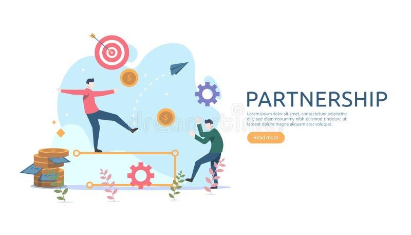 企业合作联系与微小的人字符的概念想法 网着陆页的队运作的伙伴一起模板 库存例证