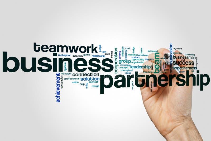 企业合作词在灰色背景的云彩概念 免版税库存照片