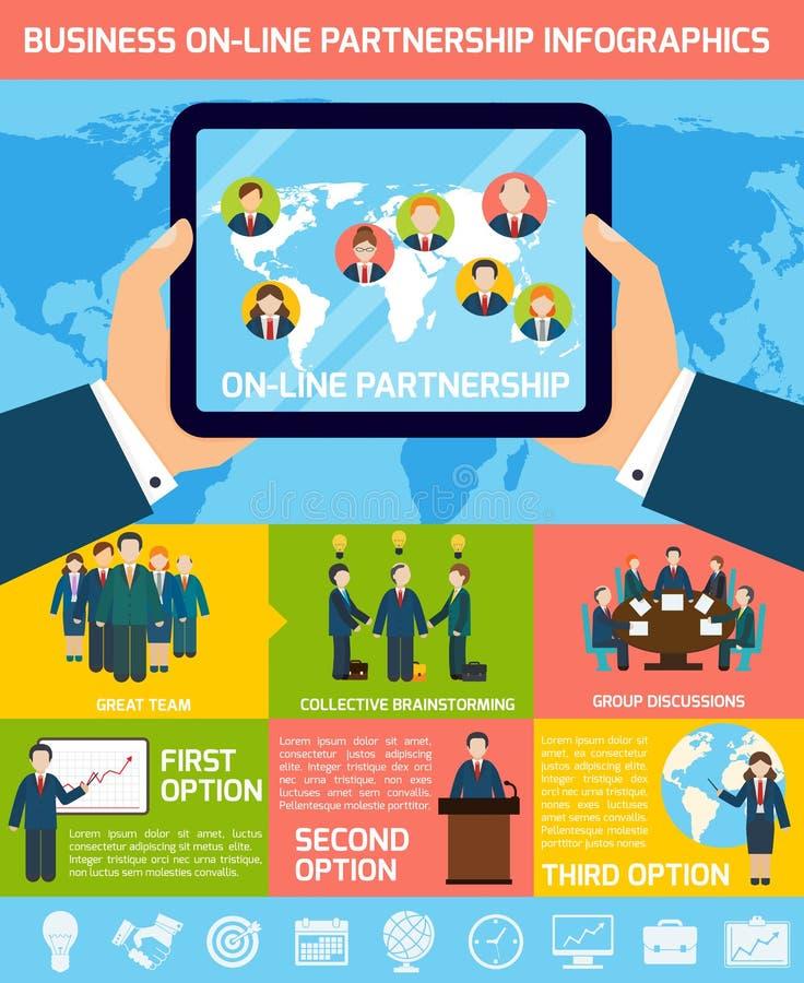 企业合作infographics 皇族释放例证