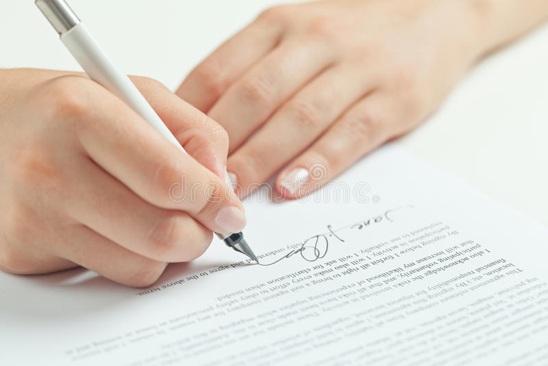 企业合同签字 免版税库存照片