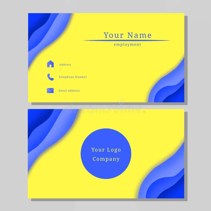 企业名称卡片设计蓝色黄色 库存例证
