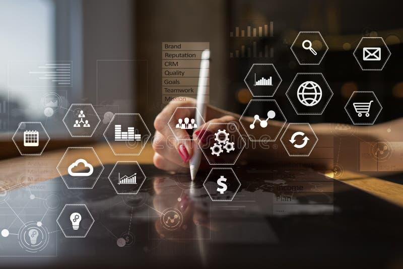 企业和技术概念 图表和象在虚屏背景 向量例证