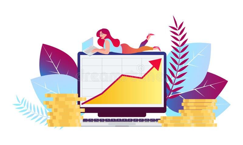企业和财务服务,金钱贷款,预算计划平的传染媒介例证设计 向量例证