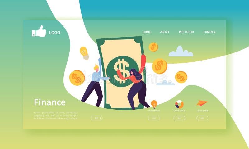 企业和财务着陆页模板 与挣金钱的平的人字符的网站布局 容易编辑 向量例证