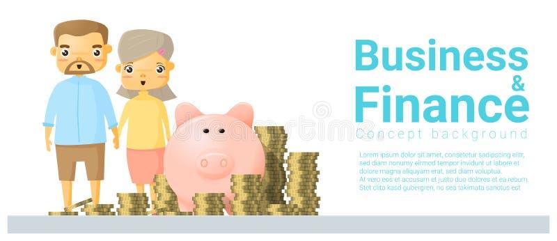 企业和财务与家庭挽救金钱的概念背景 皇族释放例证