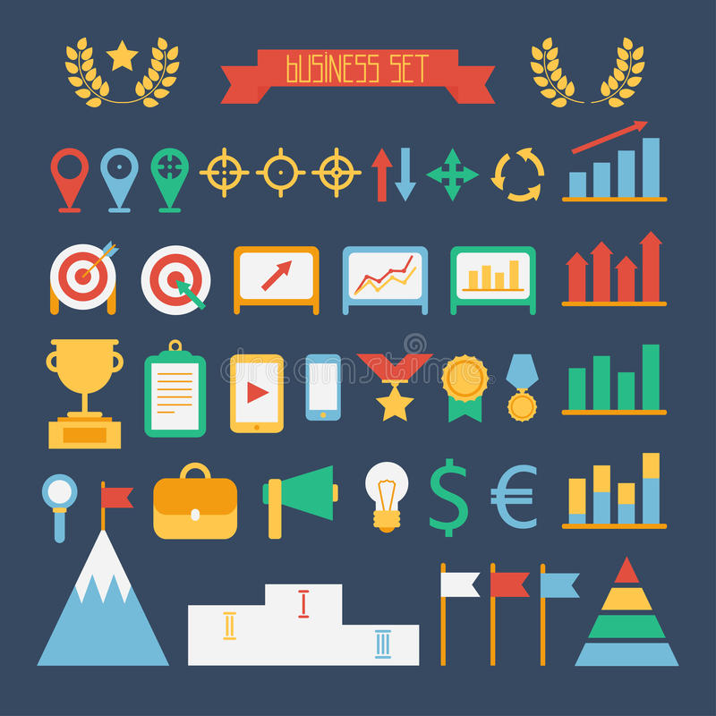 企业和财务infographic设计元素 套传染媒介目标象 在平的样式的例证 向量例证