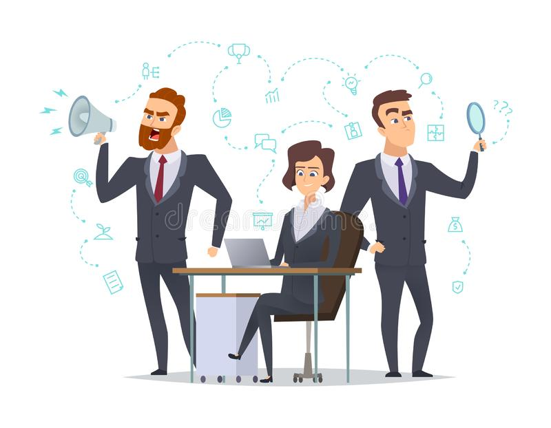 企业咖啡夫人人扩音机小组 成功coworking人的办公室经理工作与企业项目起始的想法传染媒介概念一起 库存例证