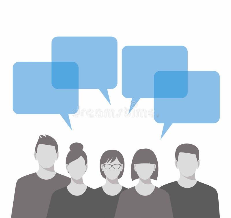 企业咖啡夫人人扩音机小组 商人和讲话泡影 向量例证