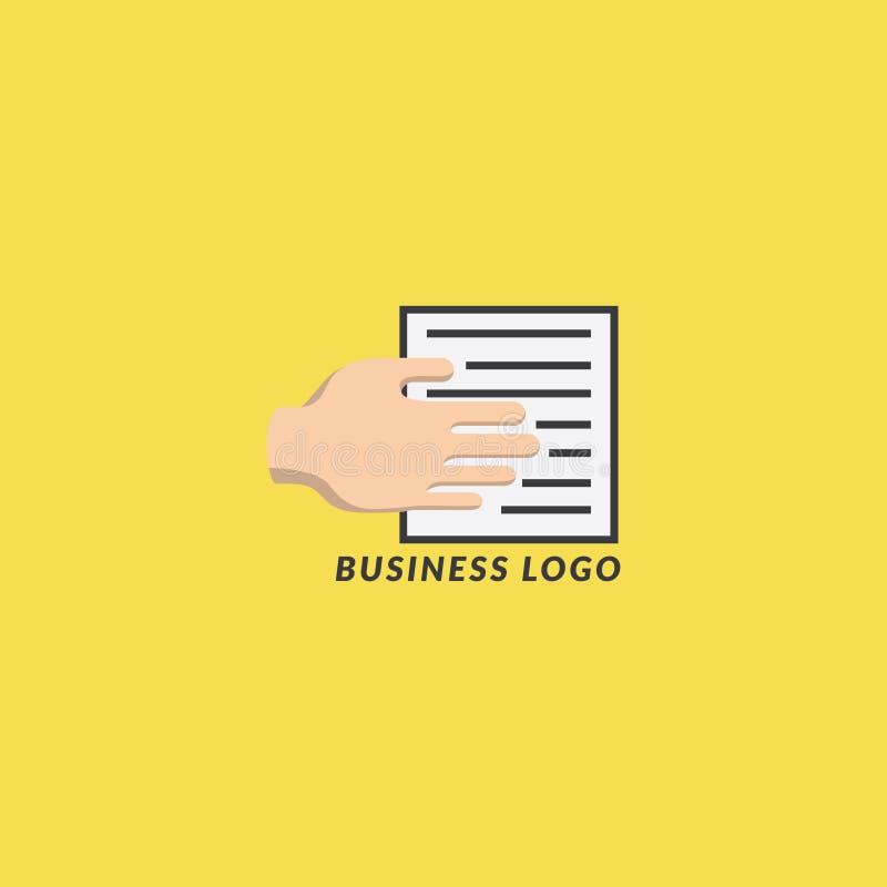 企业商标手和纸 皇族释放例证