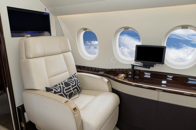 企业喷气机客舱内部 图库摄影