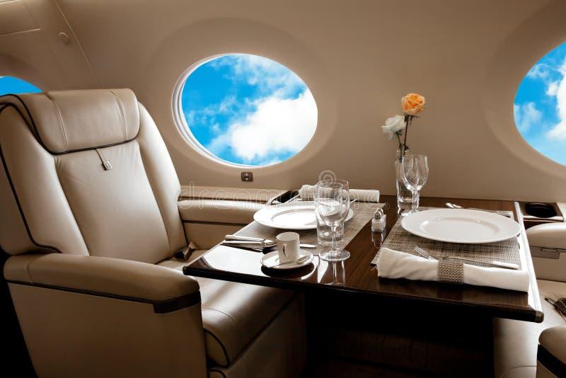 企业喷气机飞机内部 库存照片