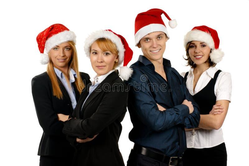 企业四帽子人员圣诞老人年轻人 免版税库存照片