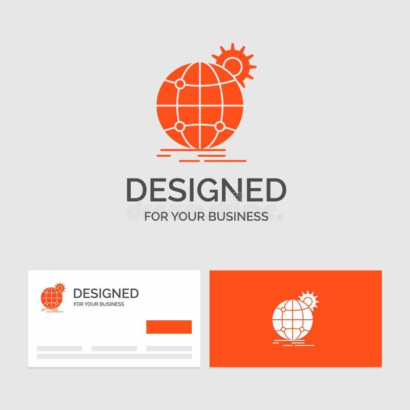 企业国际的商标模板,事务,地球,全世界,齿轮 r 向量例证