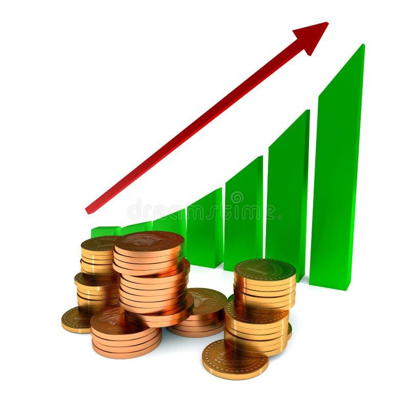 企业图和金币 库存例证