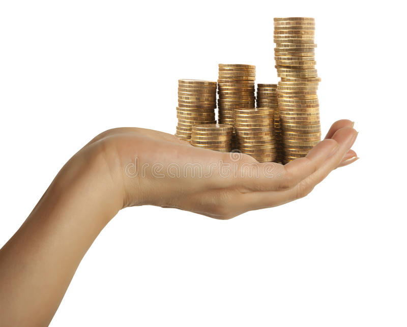 企业图由金黄硬币被做 免版税库存照片