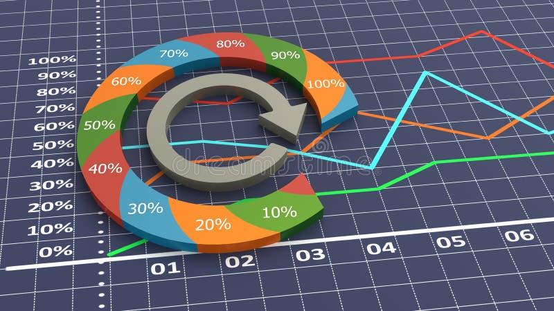 企业图表五颜六色的进程 向量例证