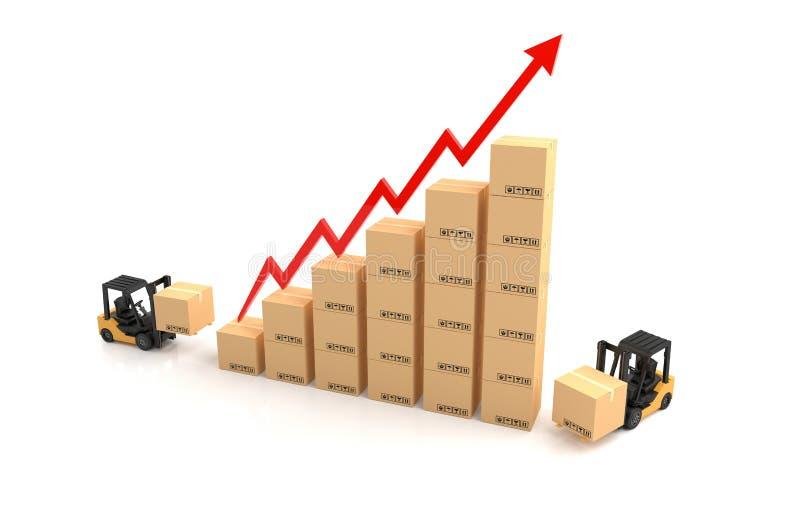 企业图表,有纸板图表的铲车 向量例证
