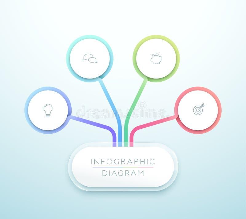 企业图4步3d圈子Infographic传染媒介 皇族释放例证