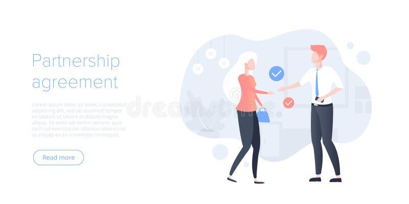 企业在平的传染媒介例证的合作概念 公司协议或成交与商人和女实业家握手 向量例证